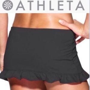 Athleta Ruffled Black Swimsuit Swim Skirt Summer